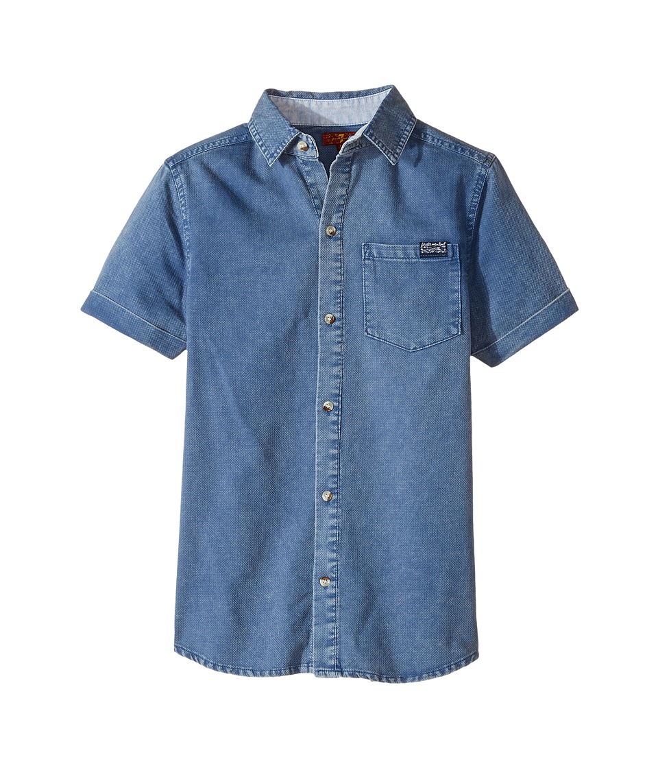 7 For All Mankind Kids - Short Sleeve Textured Knit Shirt (Big Kids) (Textured Indigo) Boy's Clothing