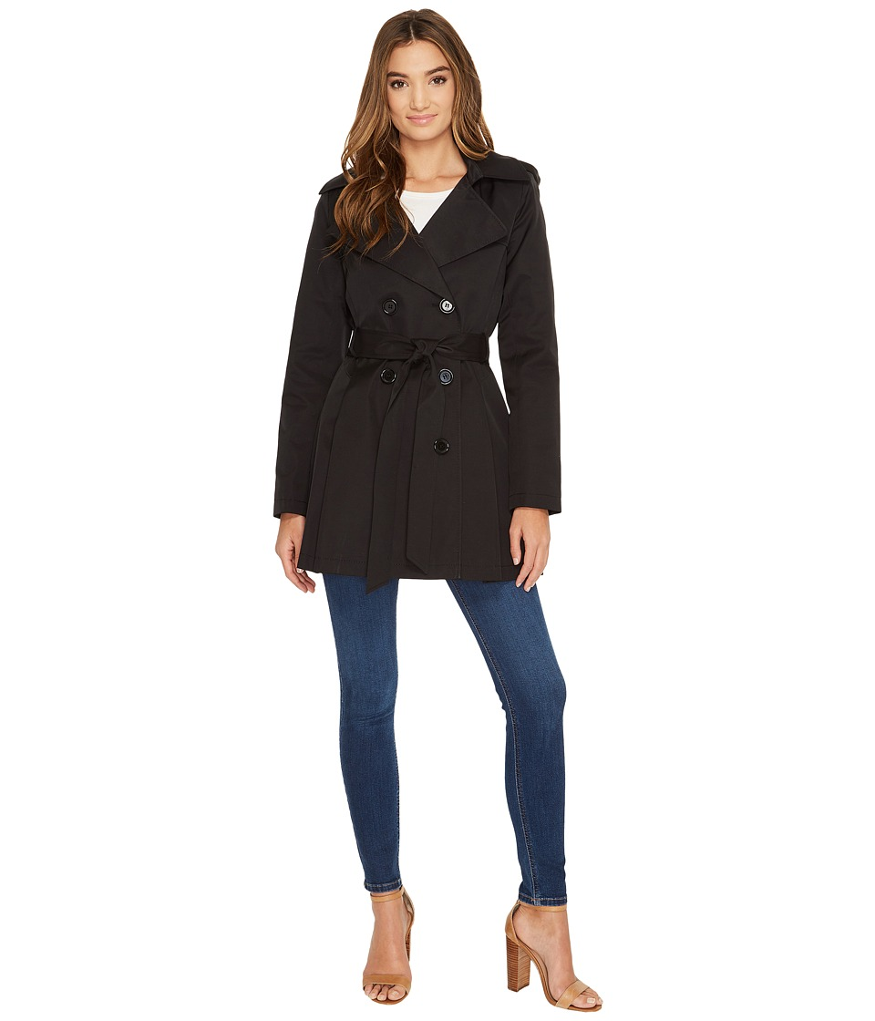 Via Spiga - Double Breasted Trench Coat (Black) Women's Coat