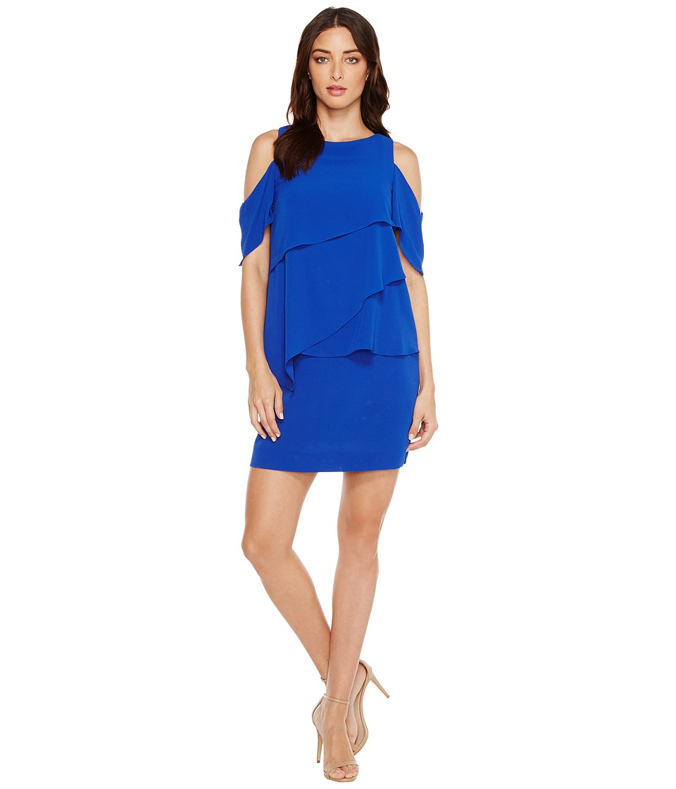 Tahari by ASL Draped Cold Shoulder Shift Dress (Cobalt) Women