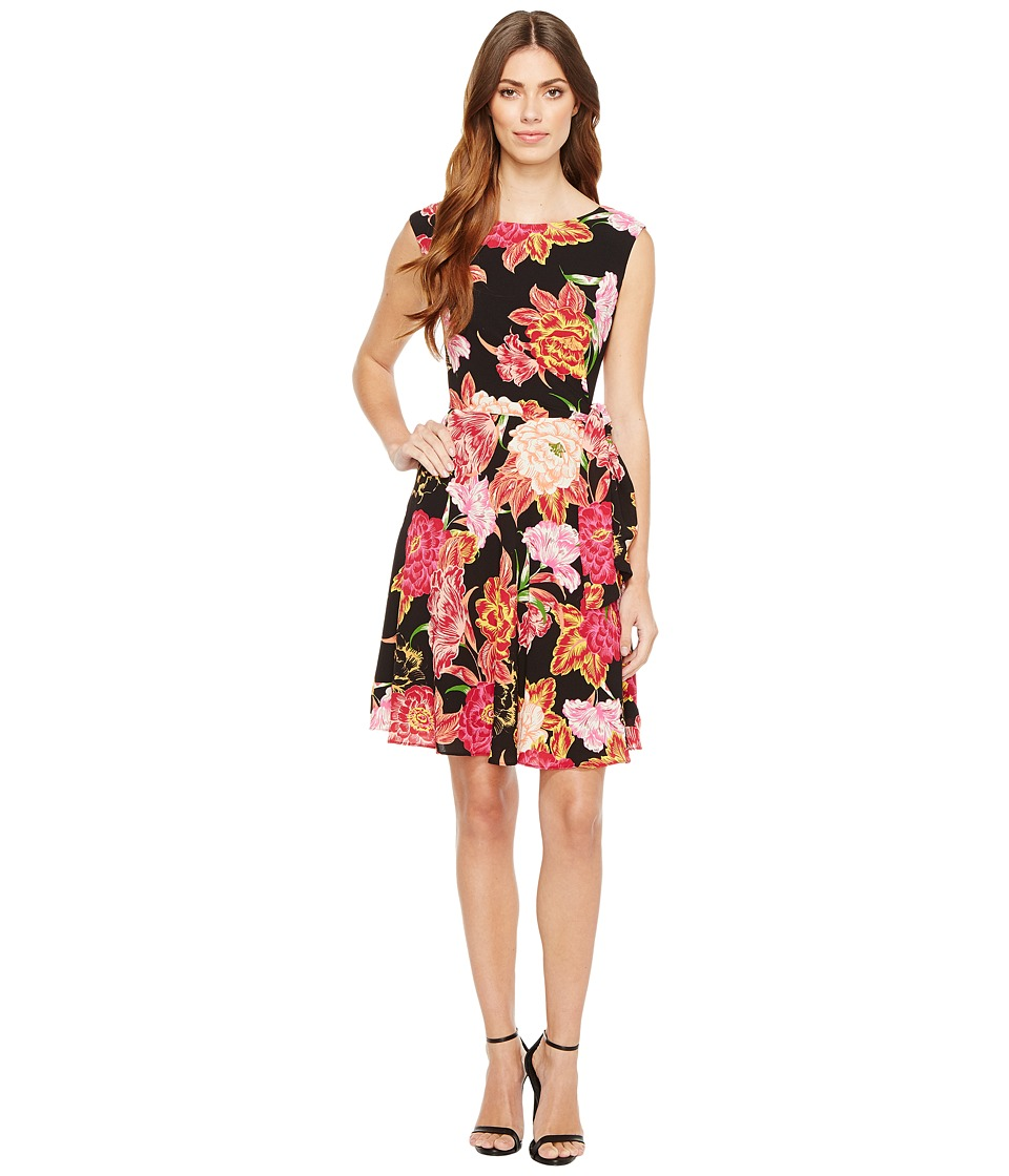 Tahari by ASL - Side Tie A-Line Floral Dress (Black/Hibiscus/White) Women's Dress