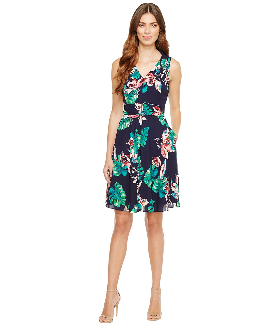 Tahari by ASL - Palm Print Tie-Waist A-Line Dress (Navy/Palm/Hibiscus) Women's Dress