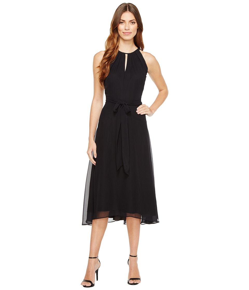 Tahari by ASL - Chiffon Tea-Length Keyhole Neck Dress (Black) Women's Dress