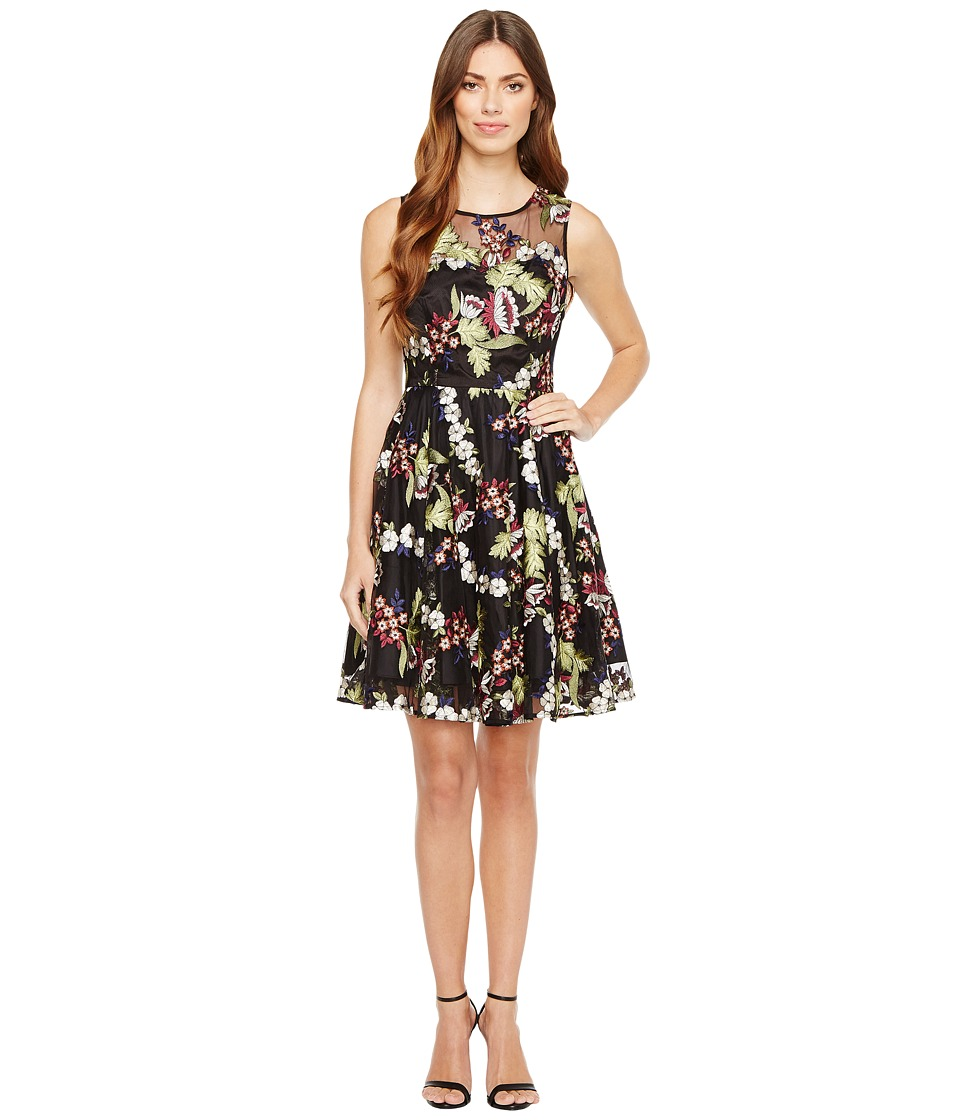 Tahari by ASL Embroidered Mesh Party Dress