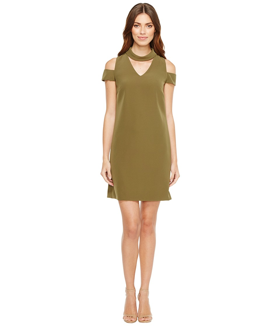Tahari by ASL - Crepe Cold Shoulder Shift Dress (Loden) Women's Dress
