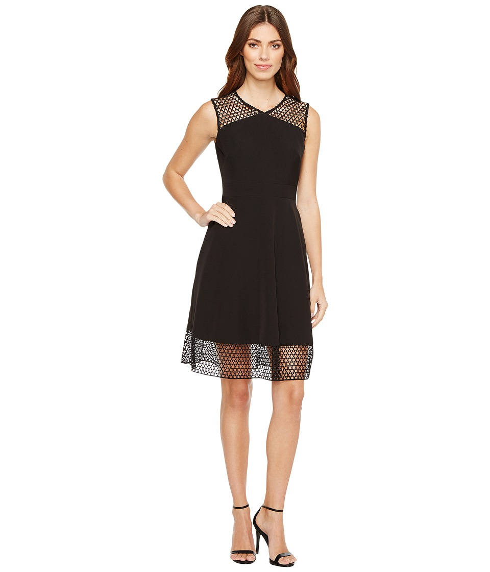 Tahari by ASL Embroidery Trim Fit-and-Flare Dress (Black) Women