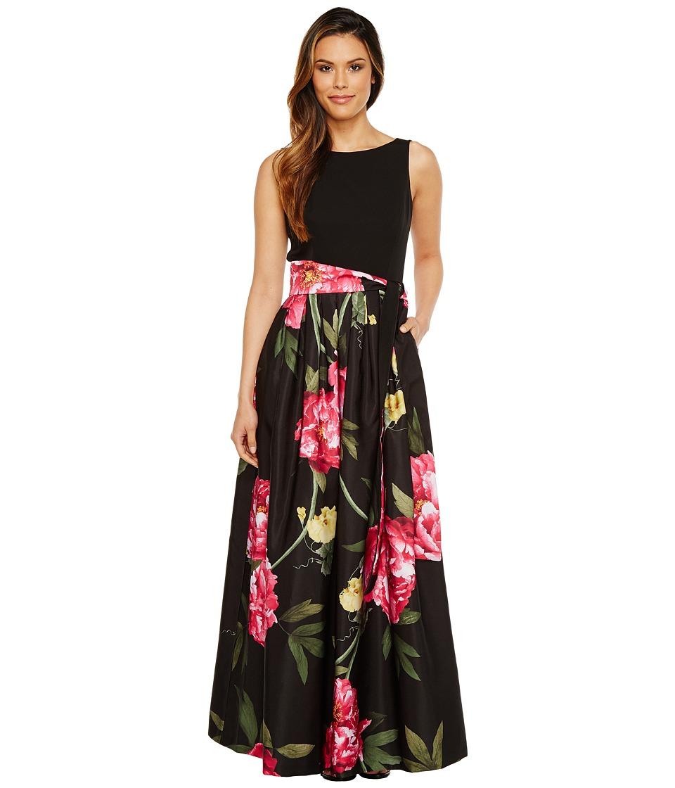 Tahari by ASL - Floral Skirt Sleeveless Ballgown (Black/Pink/Citrine) Women's Dress