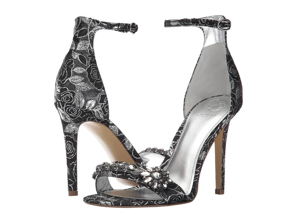 GUESS - Partyer (Silver/Black Fabric) High Heels