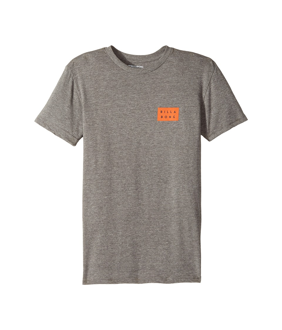 Billabong Kids - Fill Die Cut Tee (Big Kids) (Dark Grey Heather) Boy's T Shirt