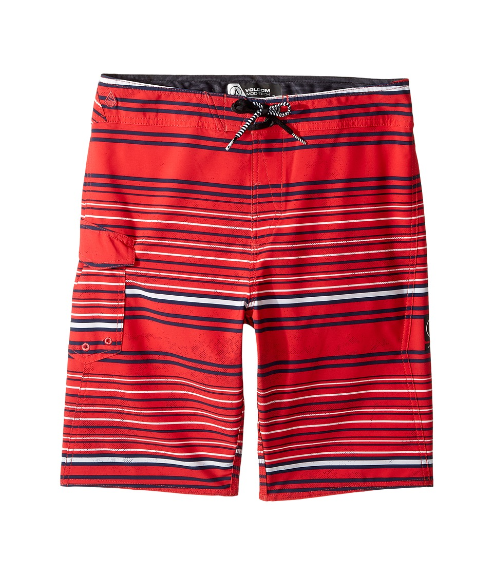 Volcom Kids Magnetic Liney Mod Boardshorts (Big Kids) (True Red) Boy