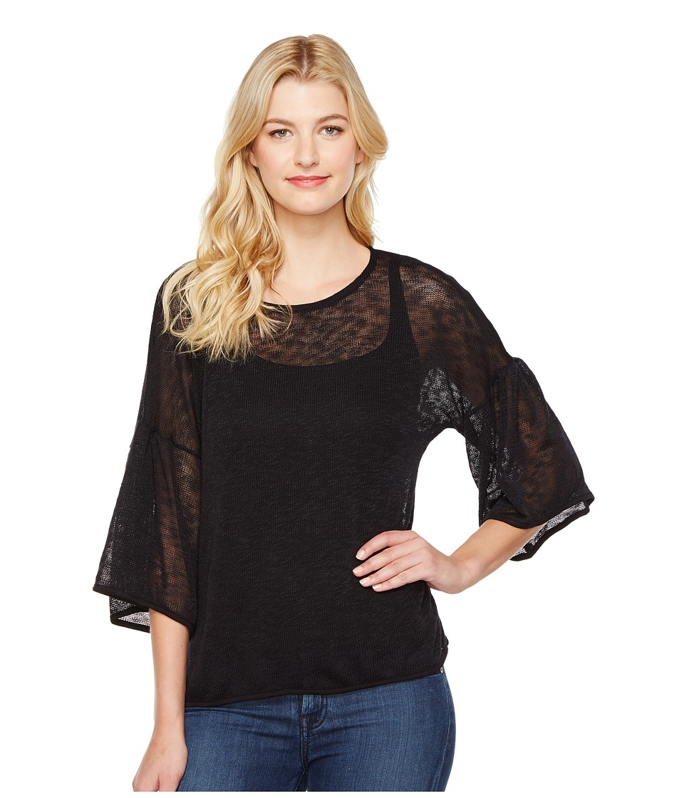 Nally & Millie - Open Knit Bell Sleeve Top (Black) Women's Clothing