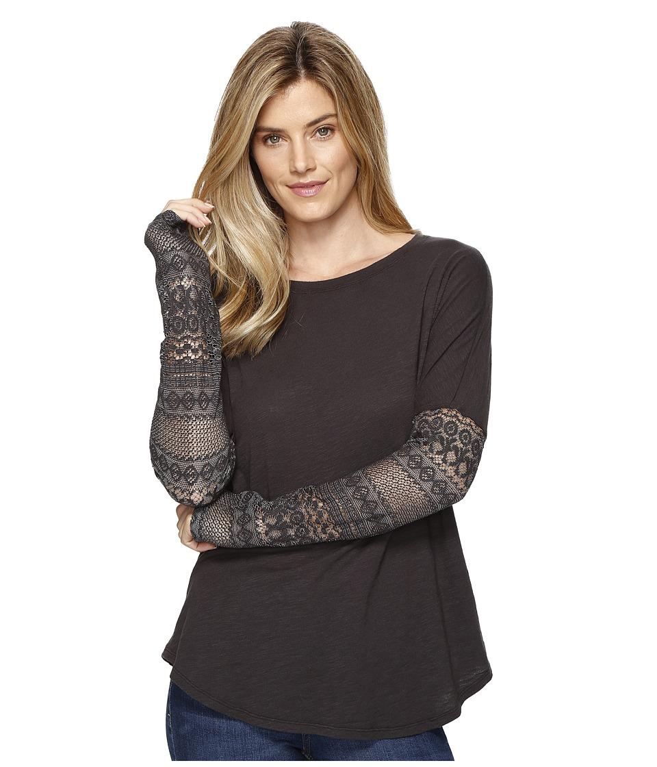 Dylan by True Grit - Soft Slub Knit T-Shirt w/ Floral Lace Sleeve (Soft Black) Women's T Shirt