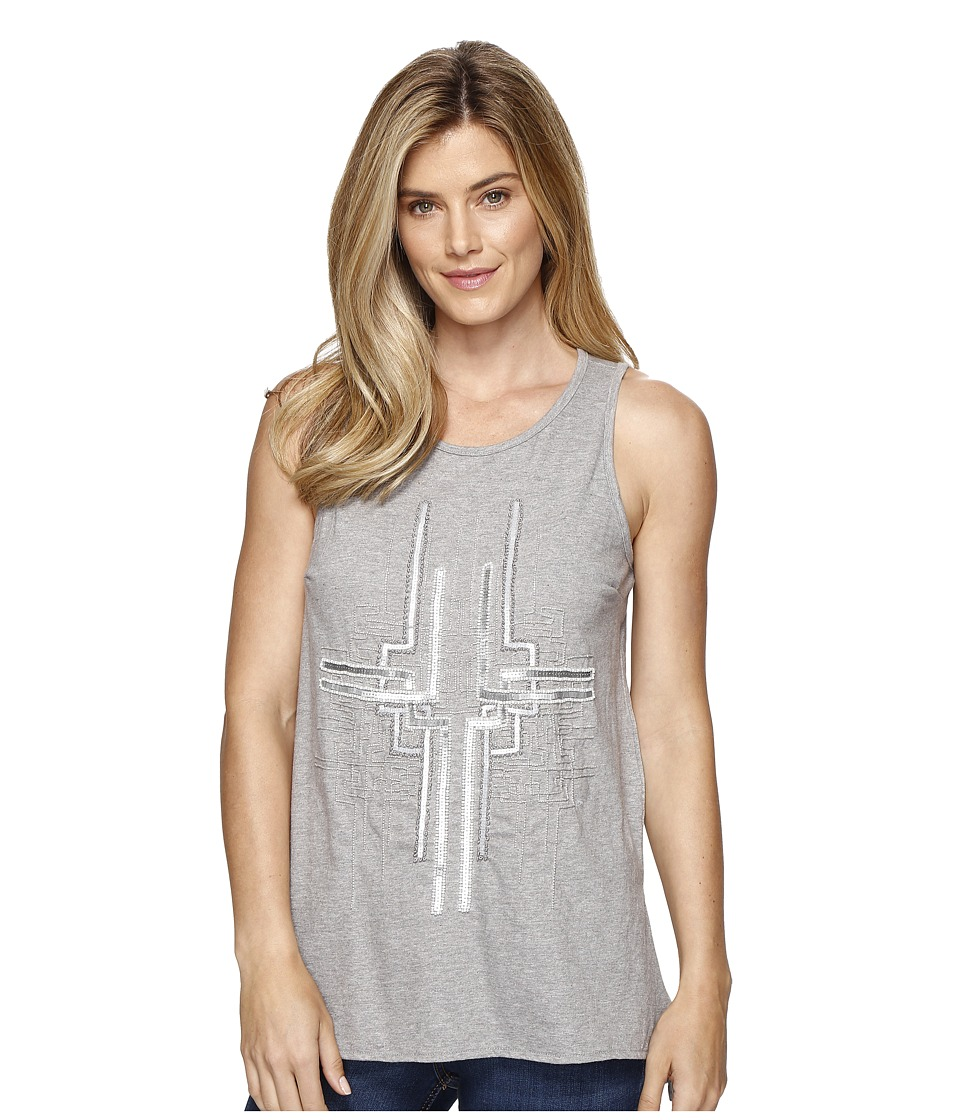 Dylan by True Grit - Mosaic Sequins Stitched and Beaded Tank Top (Heather Grey) Women's Sleeveless
