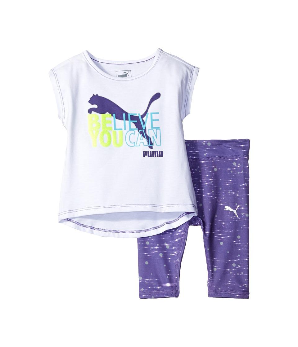 Puma Kids - Logo Leggings Set (Little Kids) (PUMA White) Girl's Active Sets