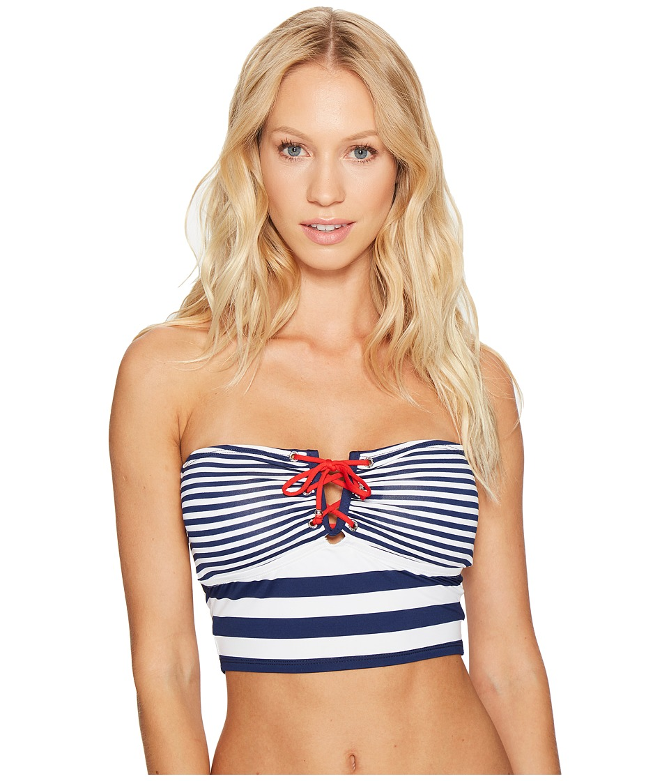 LAUREN Ralph Lauren - Modern Marine V-Wire Midkini Top w/ Removable Cups (Marine Navy/White) Women's Swimwear