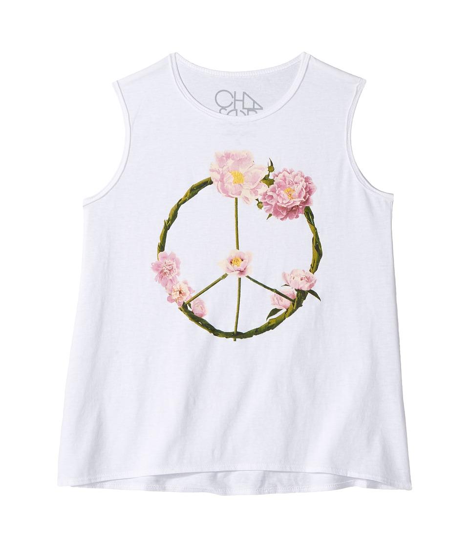 Chaser Kids - Garden Peace Wreath Tank Top (Little Kids/Big Kids) (White) Girl's Sleeveless