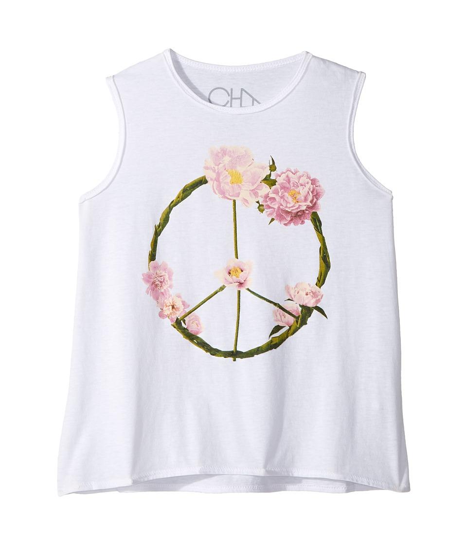 Chaser Kids - Garden Peace Wreath Tank Top (Toddler/Little Kids) (White) Girl's Sleeveless