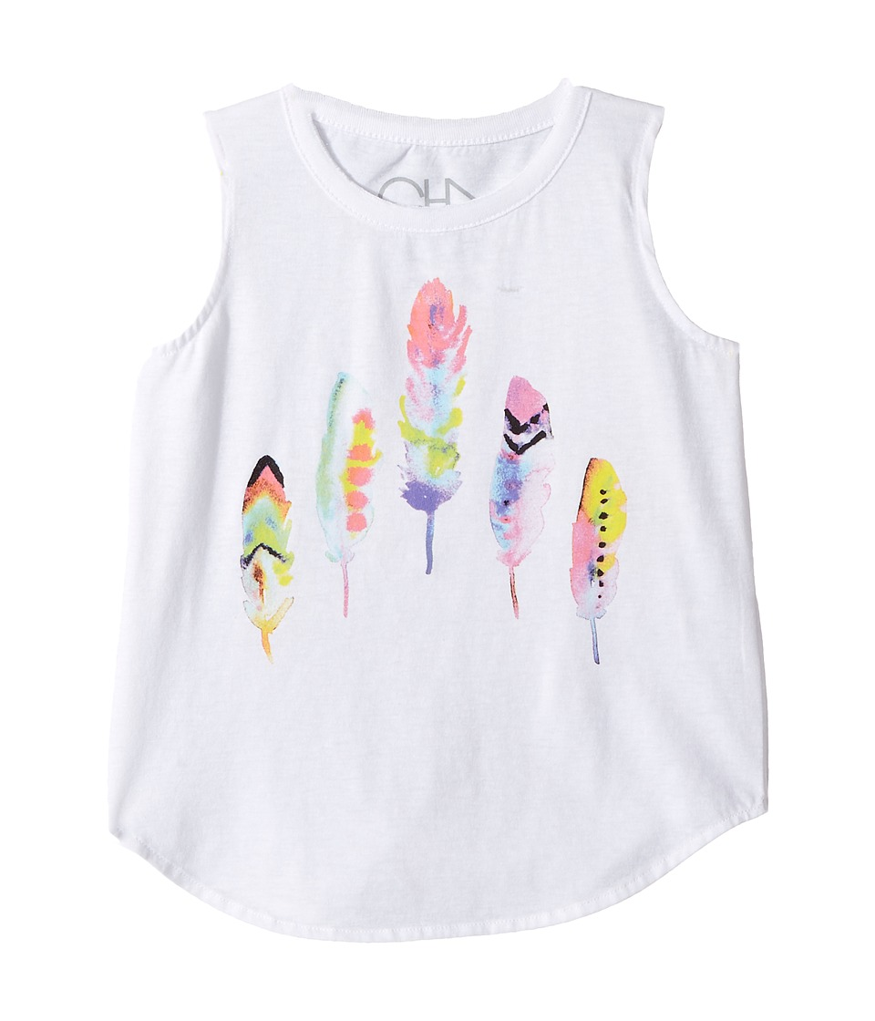 Chaser Kids - Painted Feathers Tank Top (Toddler/Little Kids) (White) Girl's Sleeveless