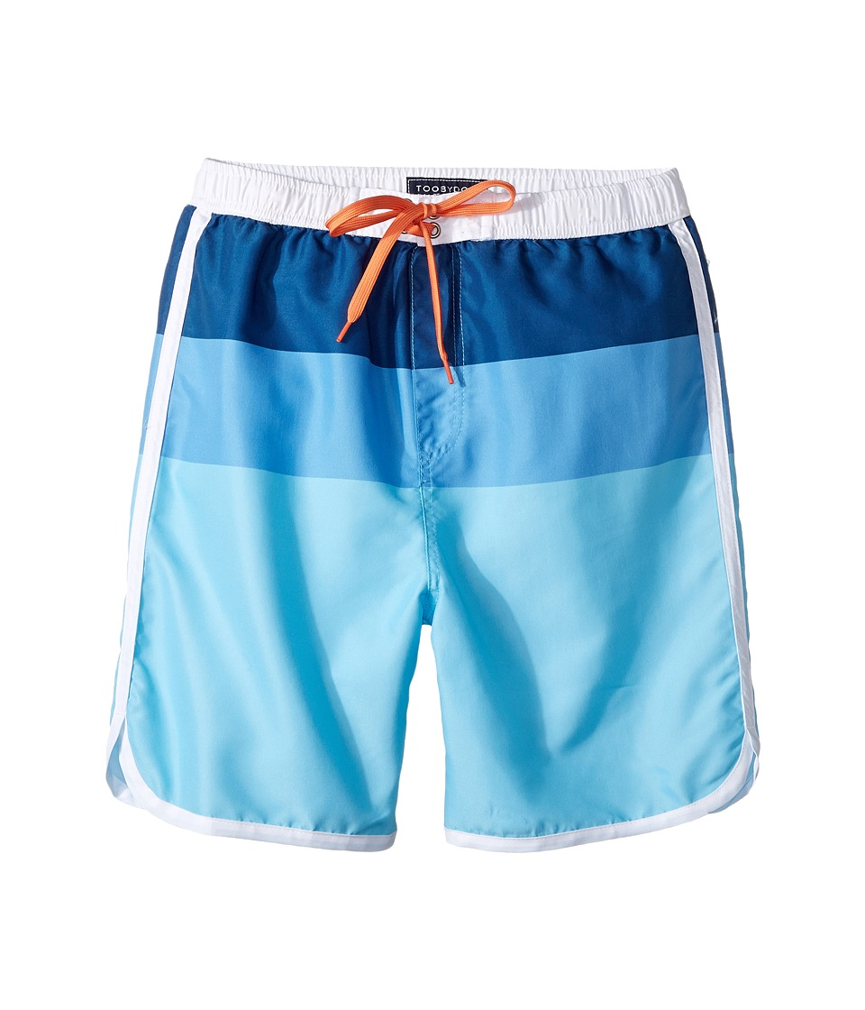 Toobydoo Multi Blue Boardshorts (Infant/Toddler/Little Kids/Big Kids) (Multi Blue/Orange) Boy