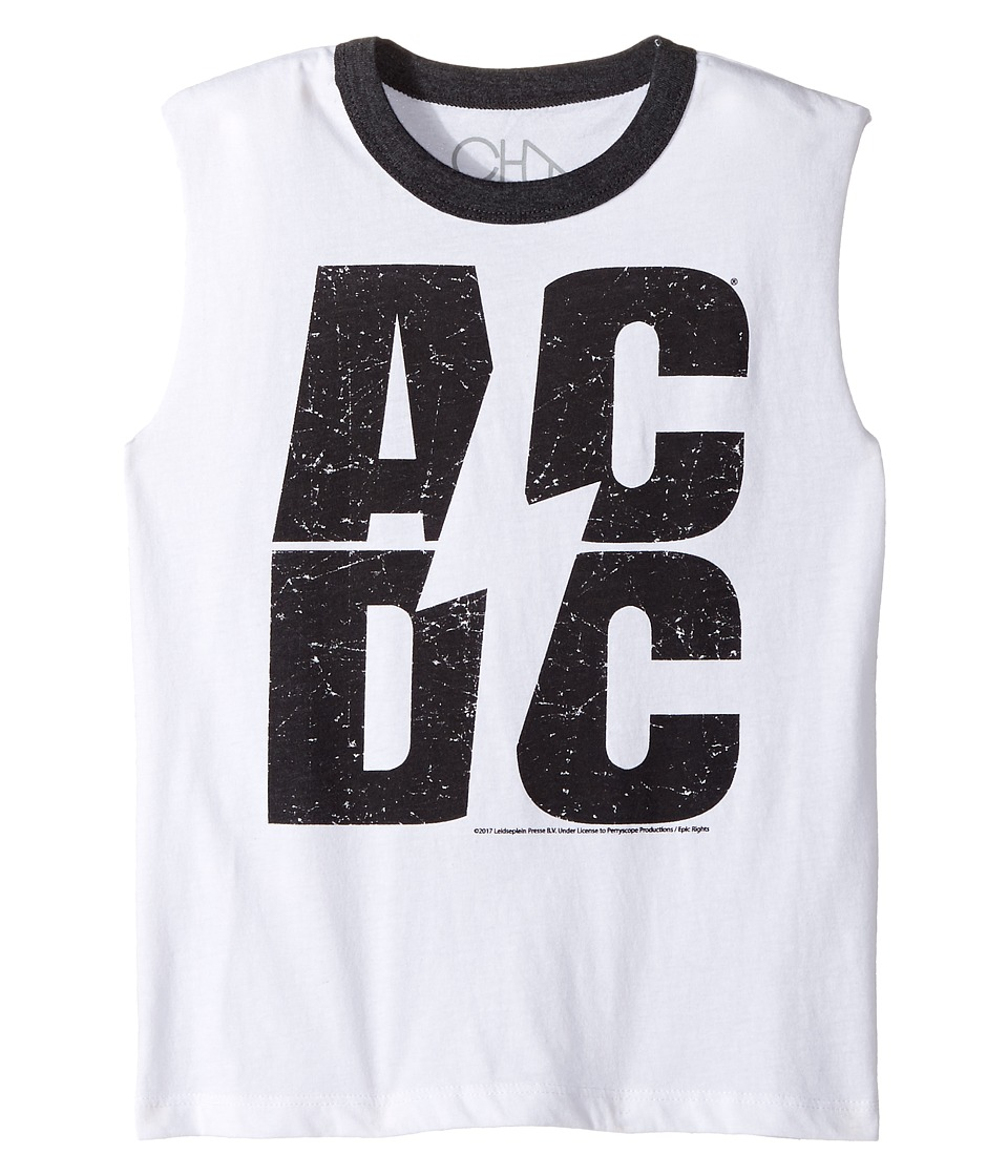 Chaser Kids - AC/DC Invisibolt Tank Top (Little Kids/Big Kids) (White/Black) Boy's Sleeveless