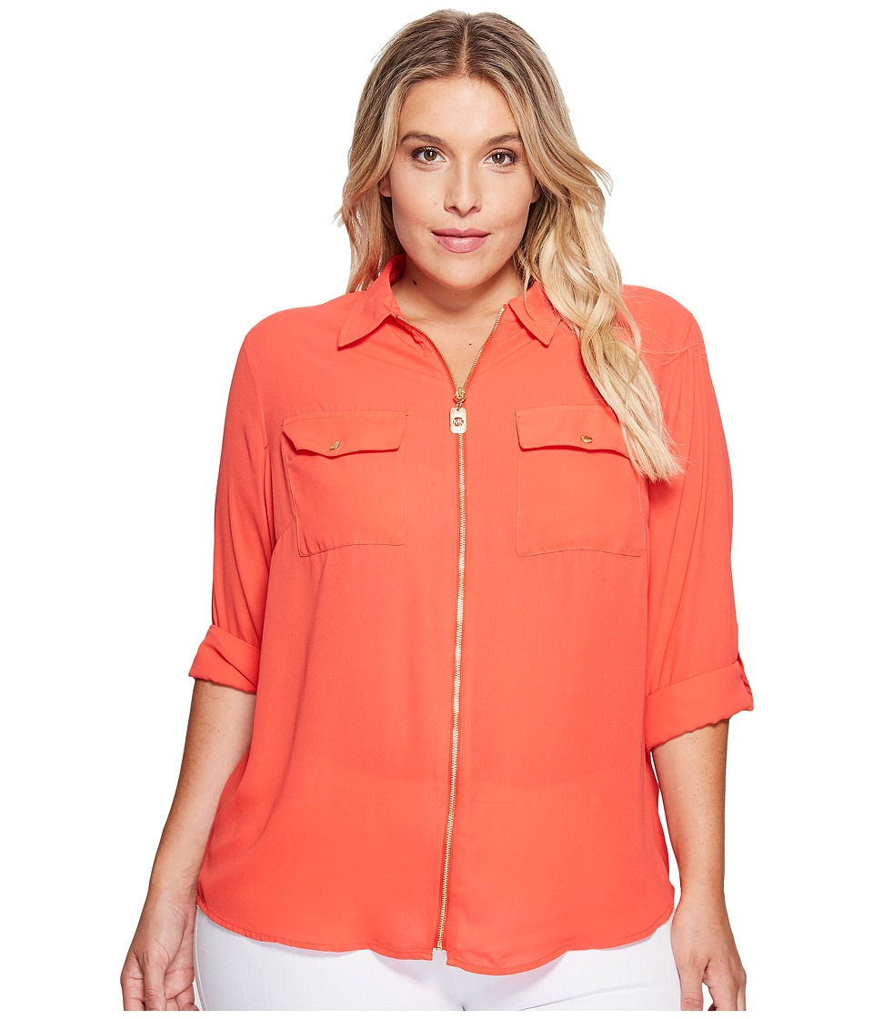 MICHAEL Michael Kors - Plus Size Dog Tag Zip Top (Coral Reef) Women's Clothing