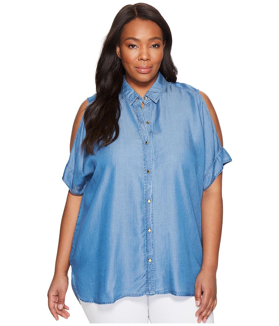 MICHAEL Michael Kors - Plus Size Tencel Cold Shoulder Top (Light Cadet Wash) Women's Clothing