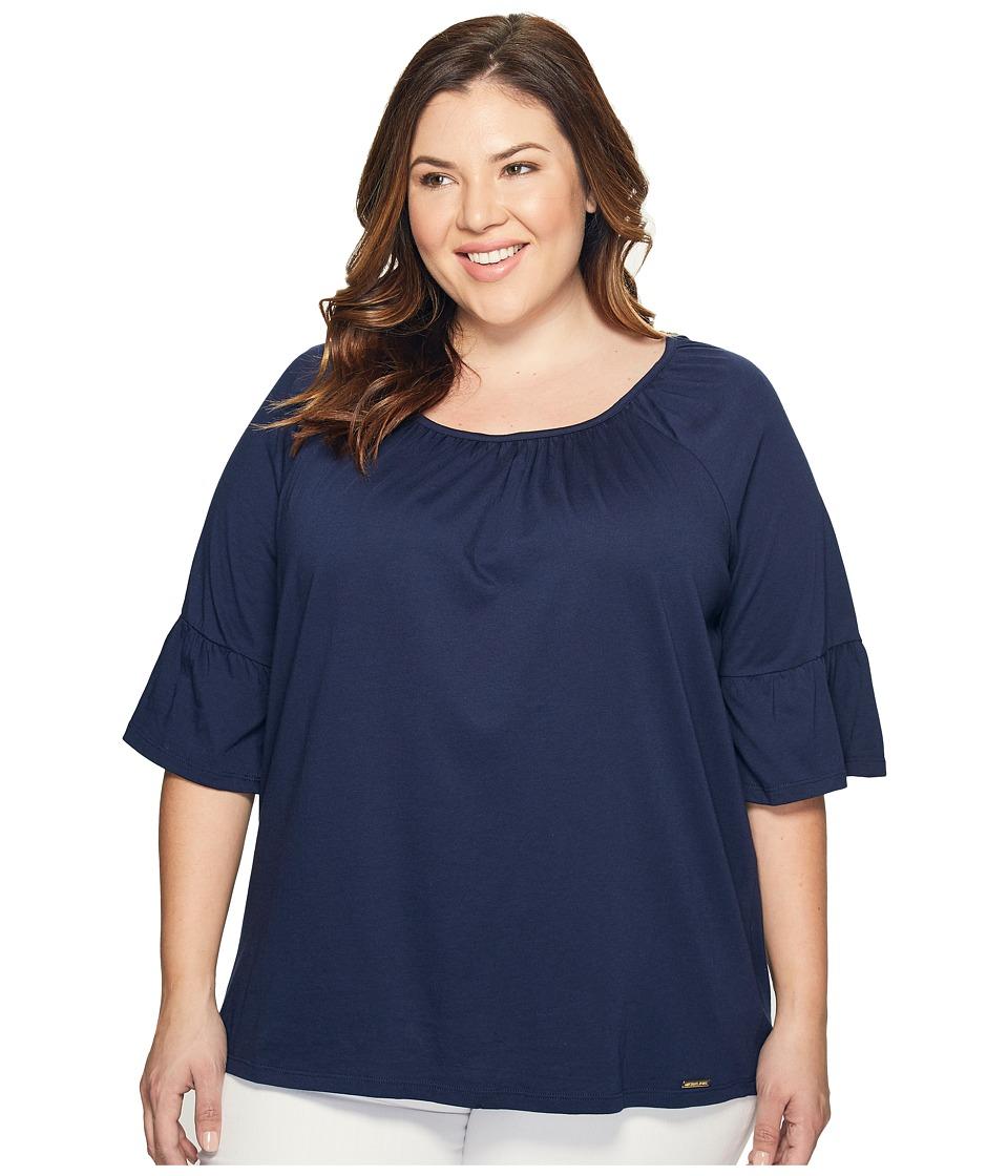 MICHAEL Michael Kors - Plus Size Gathered Sleeve Peasant Top (True Navy) Women's Clothing