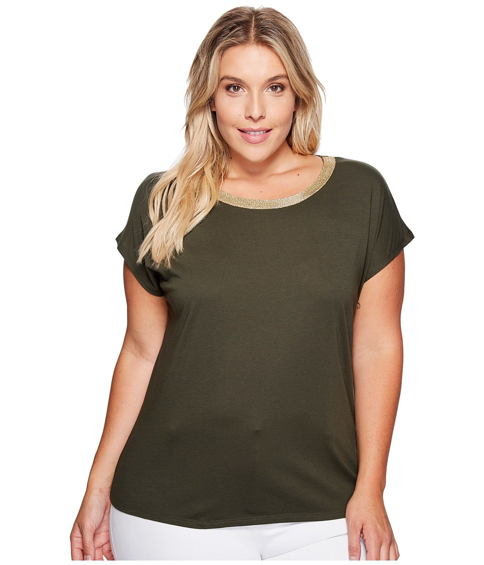 MICHAEL Michael Kors - Plus Size Metallic Trim Short Sleeve Box Top (Ivy) Women's Clothing