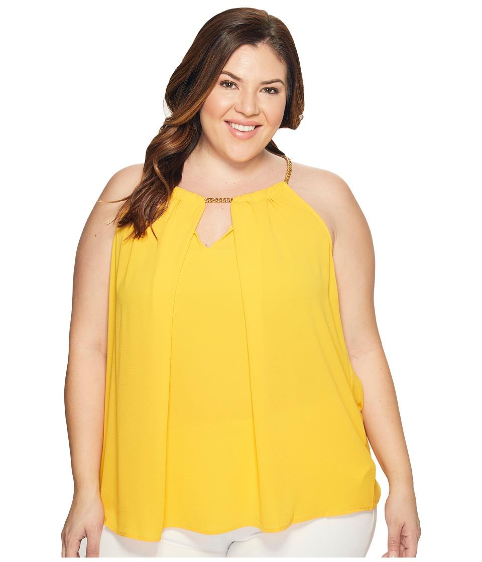 MICHAEL Michael Kors - Plus Size Chain Neck Woven Slit Top (Taxi Yellow) Women's Clothing