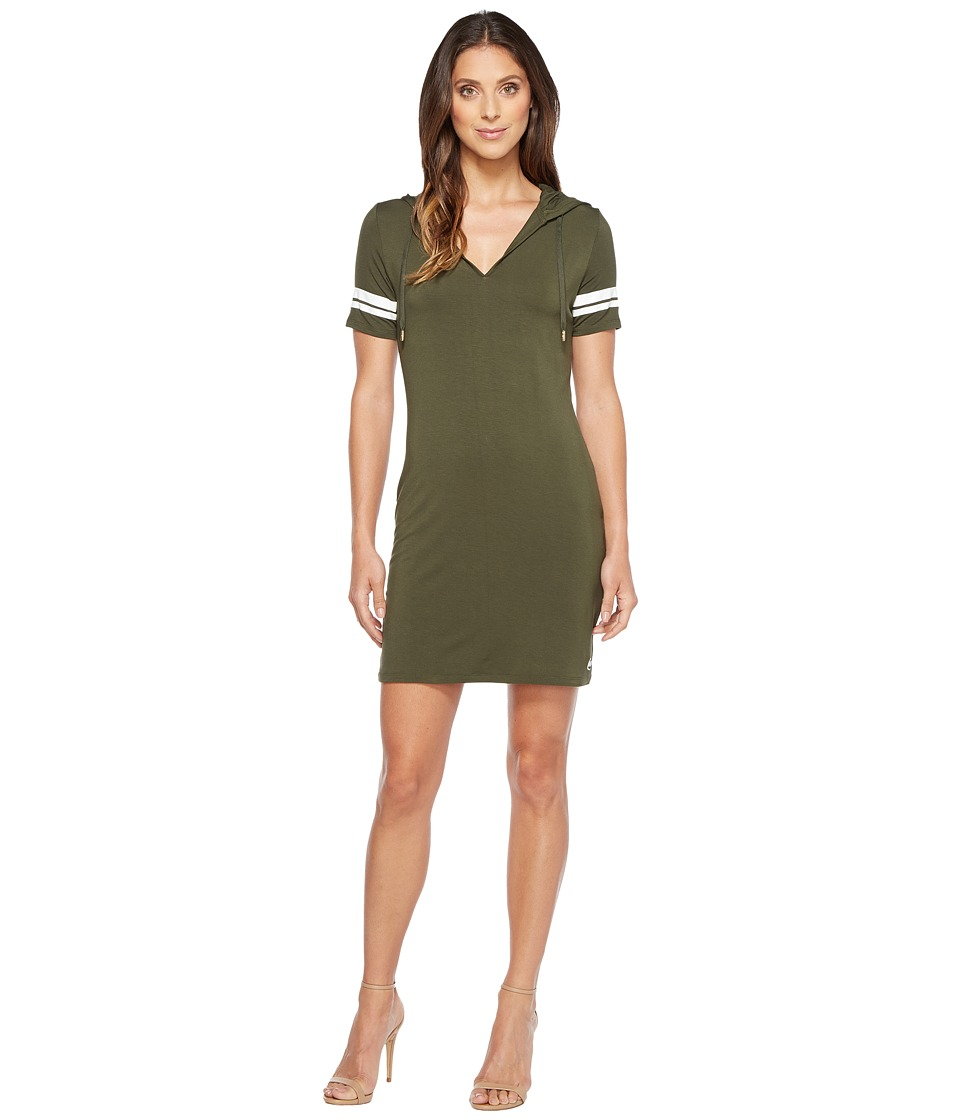 MICHAEL Michael Kors Stripe Short Sleeve Hoodie Dress (Ivy) Women