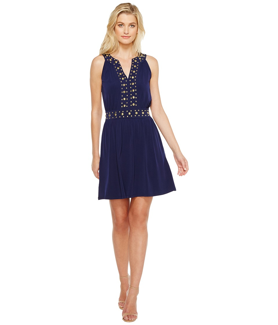 MICHAEL Michael Kors Dome Stud Band Dress (True Navy) Women