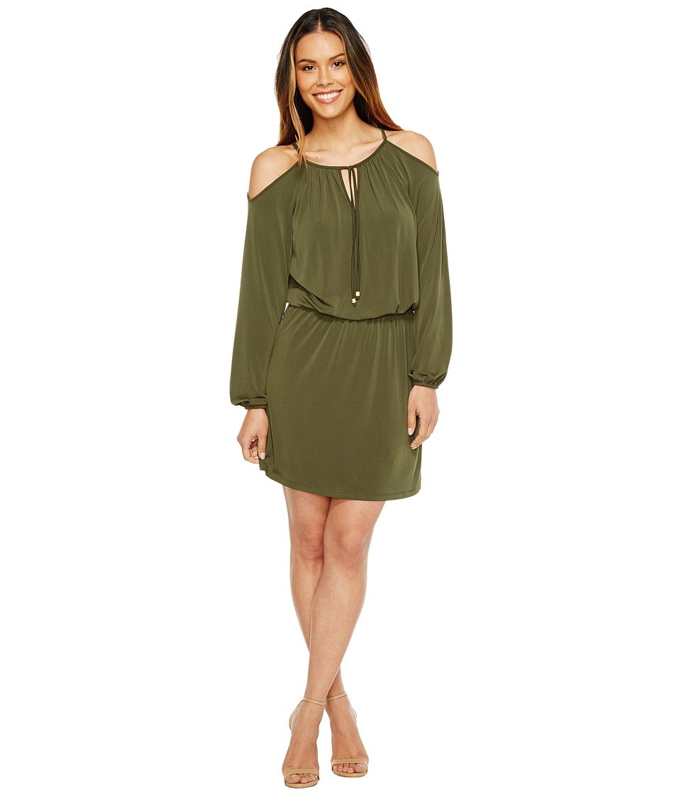 MICHAEL Michael Kors Matte Jersey Cold Shoulder Dress (Ivy) Women