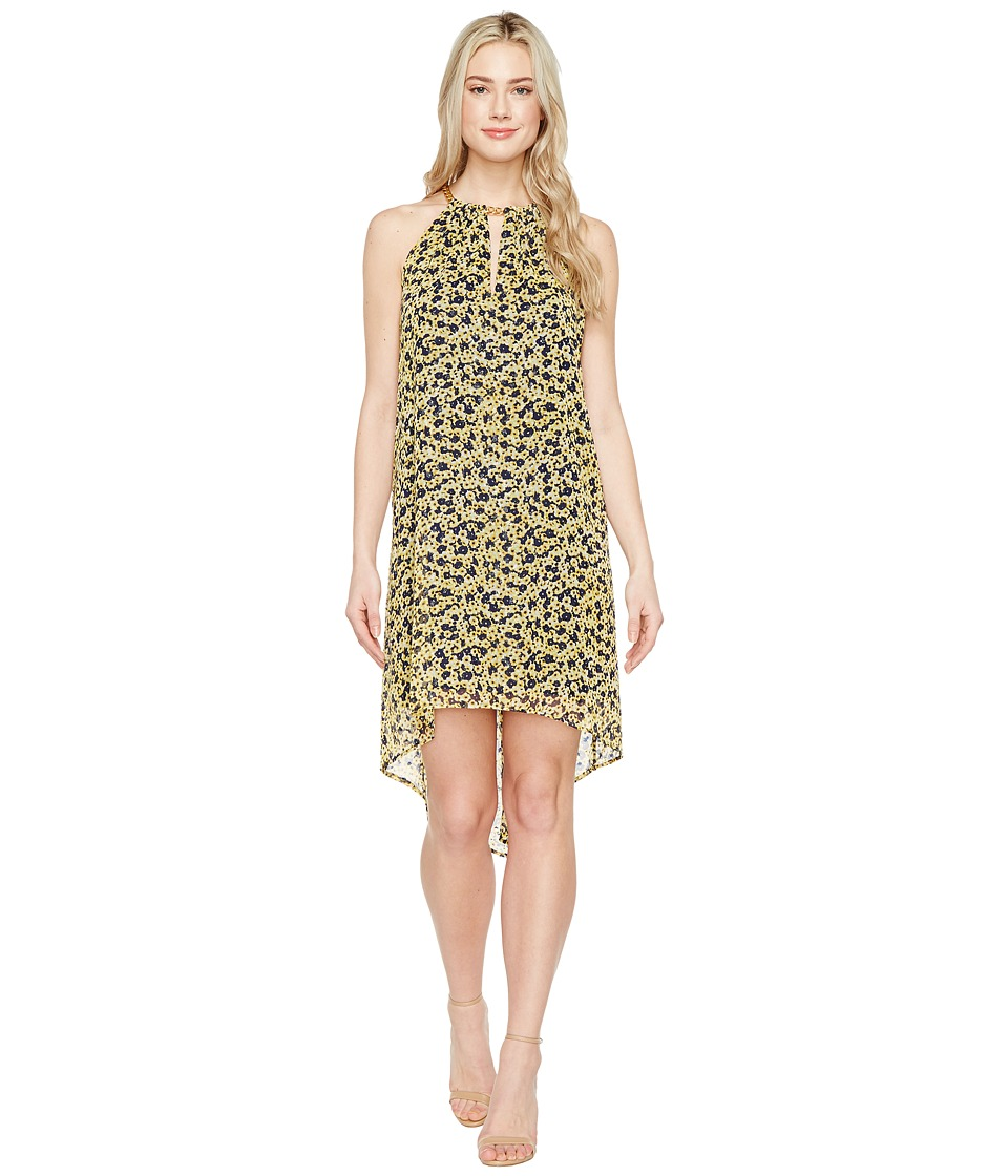 MICHAEL Michael Kors Lydia Chain Neck Dress (Taxi Yellow) Women