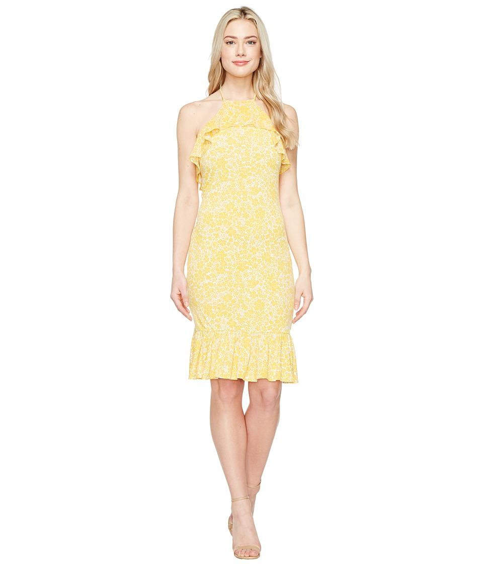 MICHAEL Michael Kors - Tansy Halter Flounce Dress (Taxi Yellow) Women's Dress