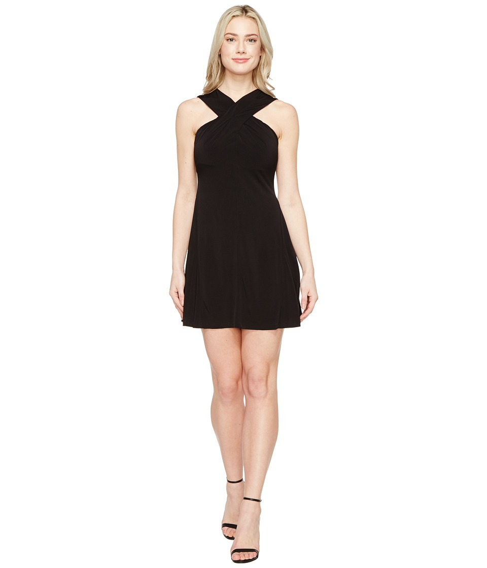 MICHAEL Michael Kors Cross Neck Dress (Black) Women