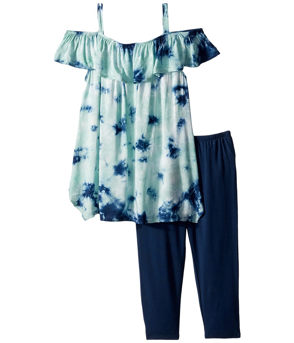 Splendid Littles - All Over Tie-Dye Voile Set (Little Kids) (Light Green) Girl's Active Sets