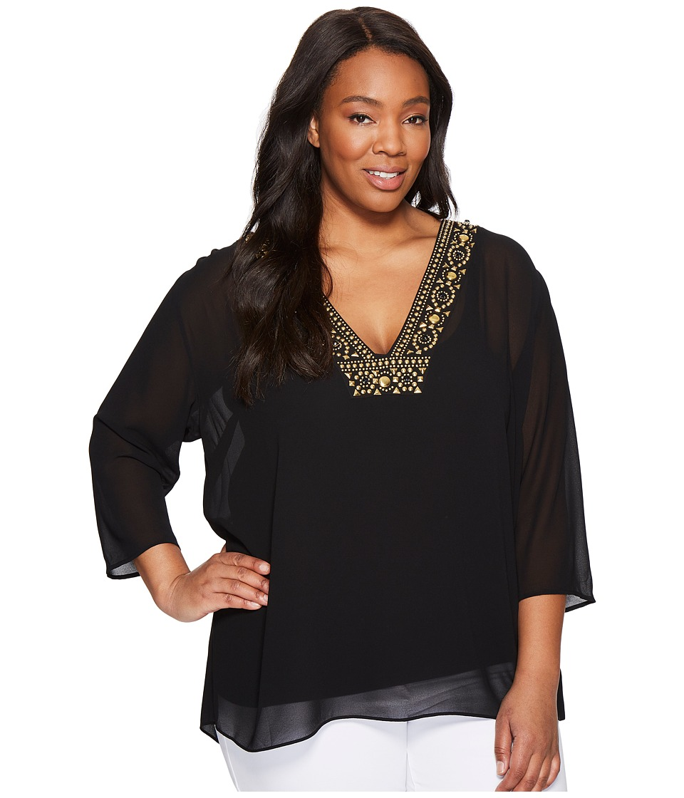 MICHAEL Michael Kors - Plus Size Top/Embroidered Neckline Top (Black) Women's Clothing