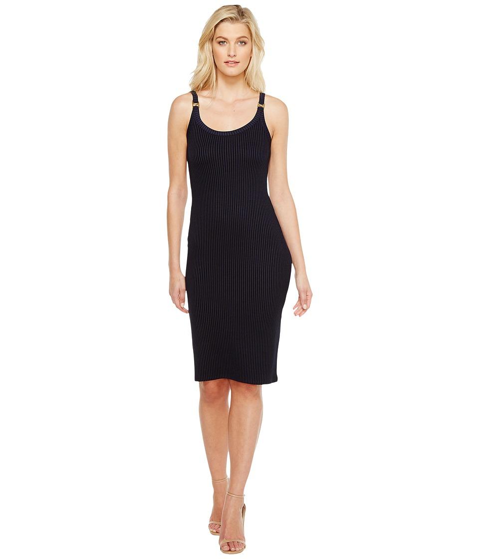 MICHAEL Michael Kors - Plated Rib Ring Dress (True Navy) Women's Dress
