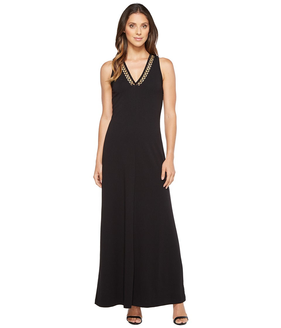 MICHAEL Michael Kors - Solid Embroidered V-Neck Maxi (Black) Women's Dress