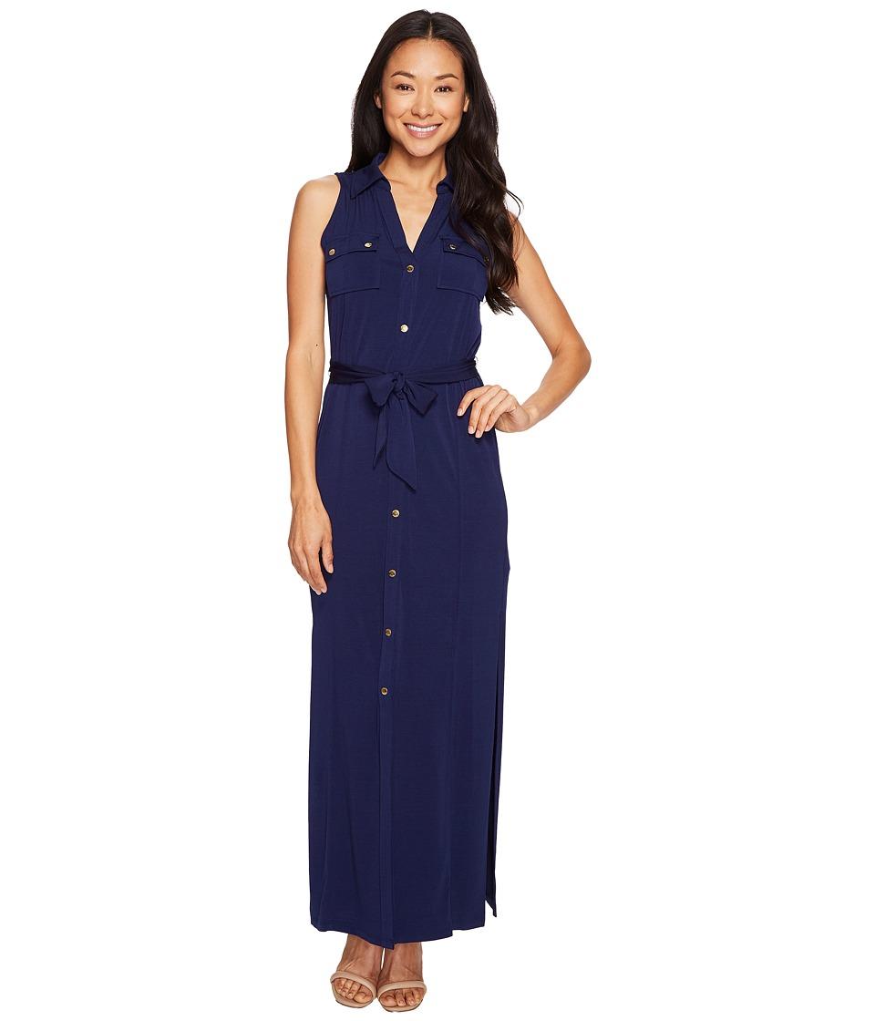 MICHAEL Michael Kors - Matte Jersey Sleeve Maxi Shirtdress (True Navy) Women's Dress