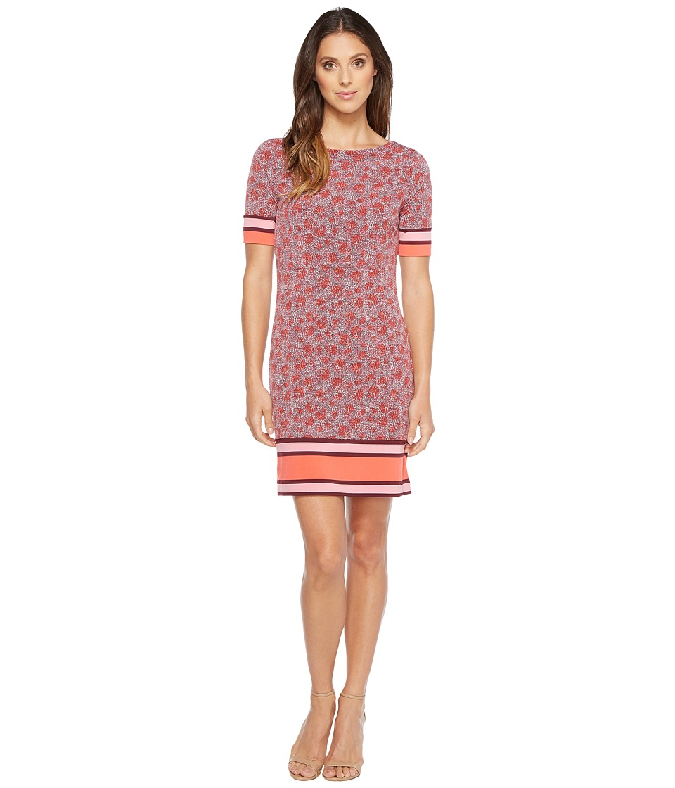 MICHAEL Michael Kors Augusta Border Short Sleeve Dress (Sangria) Women