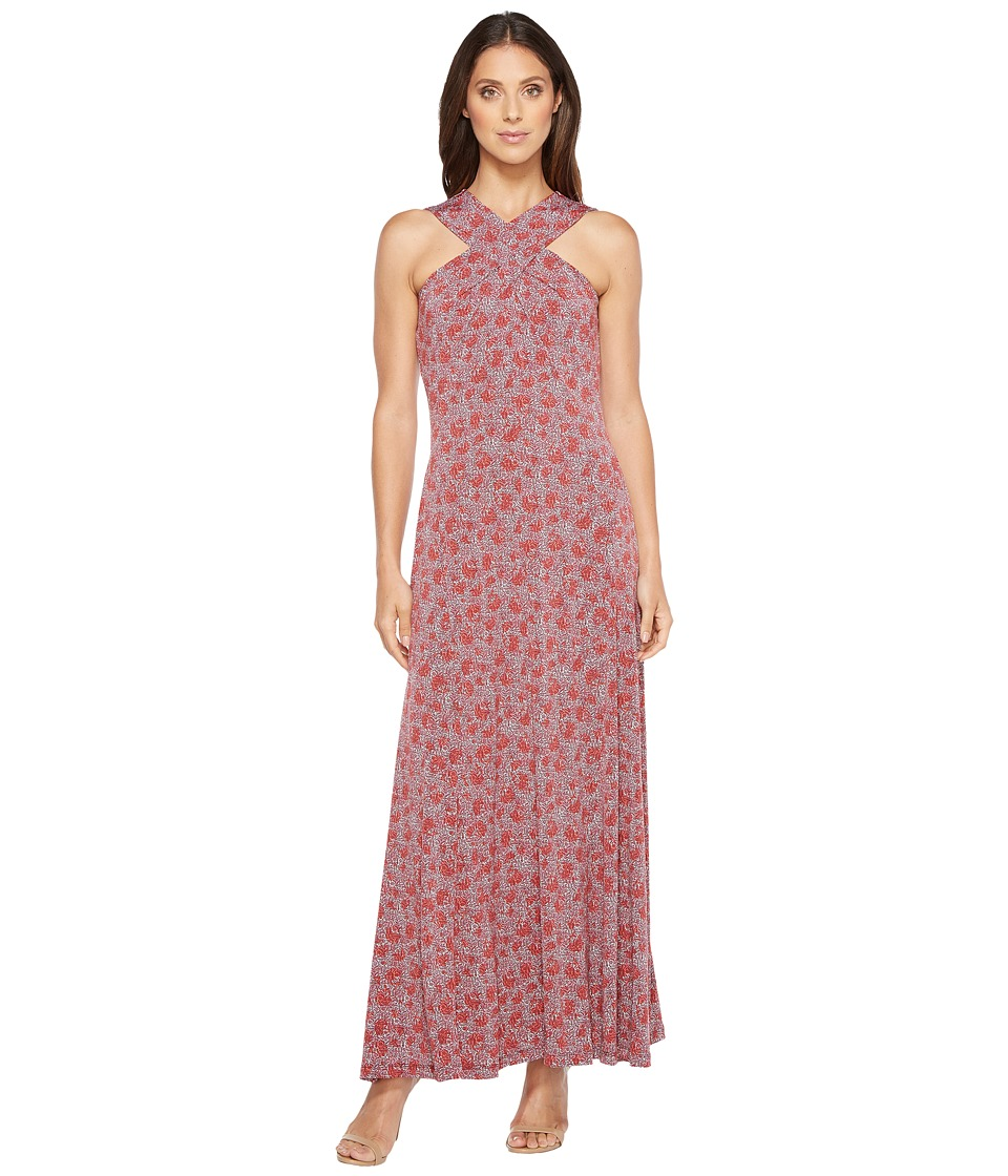 MICHAEL Michael Kors Augusta Cross Neck Maxi (Sangria) Women