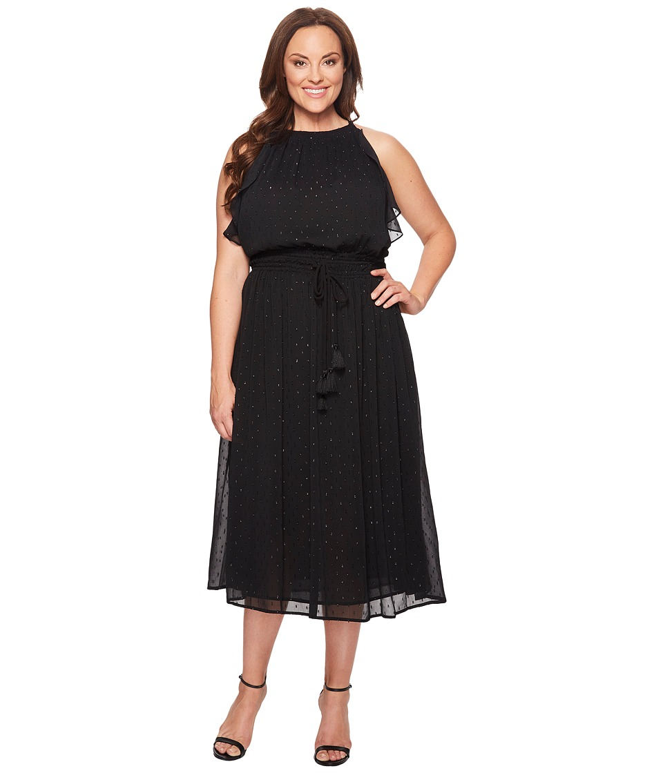 MICHAEL Michael Kors Plus Size Halter Tassel Dress (Black) Women