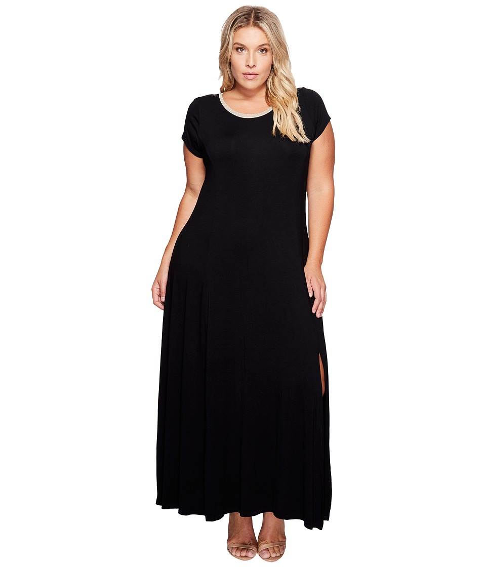 MICHAEL Michael Kors Plus Size Cap Sleeve Slit Maxi Dress (Black) Women