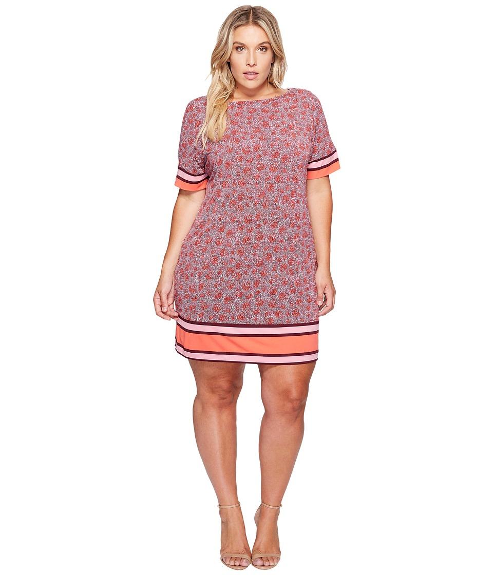 MICHAEL Michael Kors Plus Size Augusta Border Short Sleeve Dress (Sangria) Women