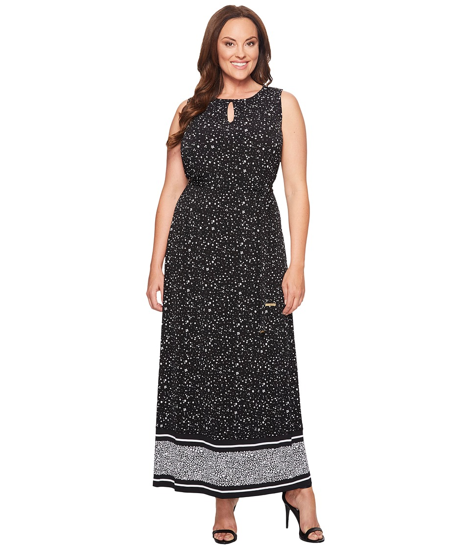 MICHAEL Michael Kors - Plus Size Nora Border Maxi Dress (Black) Women's Dress