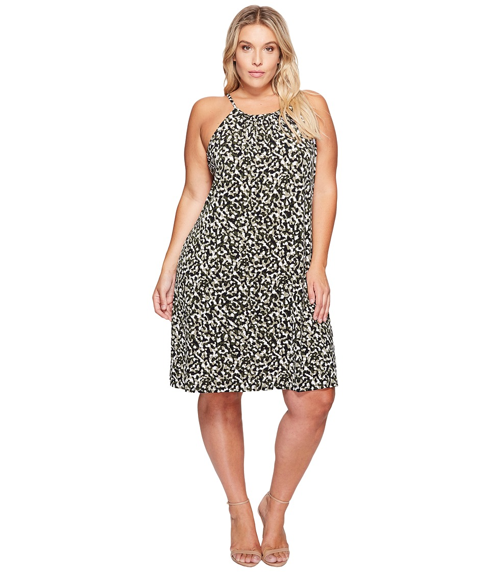 MICHAEL Michael Kors - Plus Size Camo MJ Halter Dress (Safari Green) Women's Dress