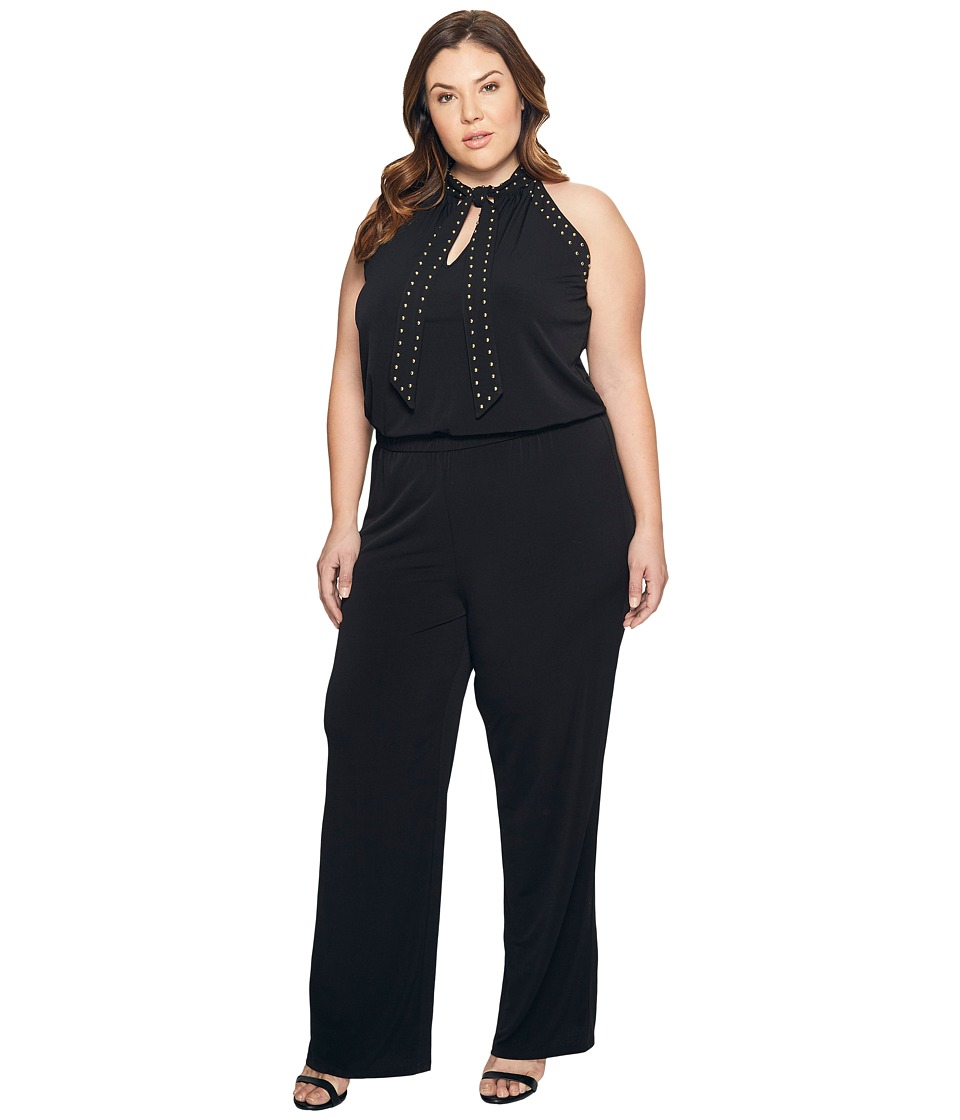 MICHAEL Michael Kors - Plus Size Solid Stud Tie Jumpsuit (Black) Women's Jumpsuit & Rompers One Piece