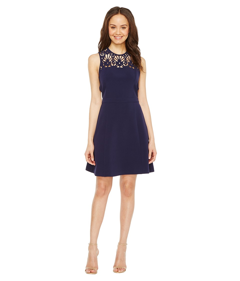 MICHAEL Michael Kors Laser Cut Flower Dress (True Navy) Women