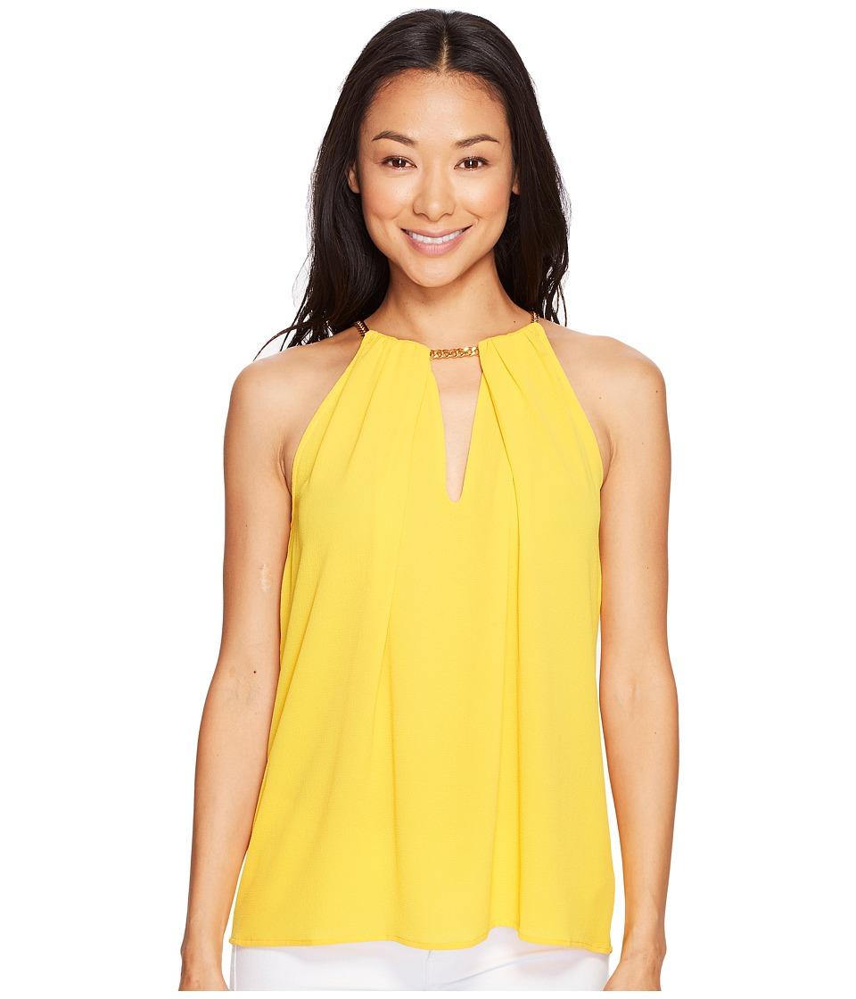 MICHAEL Michael Kors - Chain Neck Woven Slit Top (Taxi Yellow) Women's Clothing