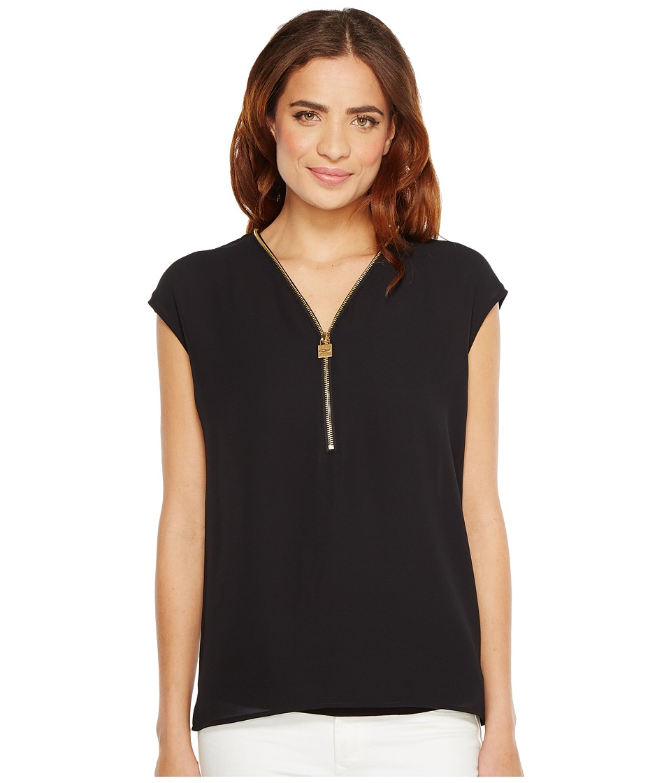 MICHAEL Michael Kors - Lock Zip Neck Top (Black) Women's Clothing